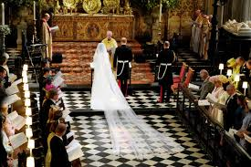 At Chapel of St. George at Windsor Castle, take a look at the weeding gown; gorgeous!